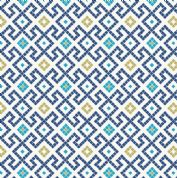 Lewis & Irene - Lindos - 5862 - Tile Inspired Geometric, Navy Blue on White - A267.3 - Cotton Fabric